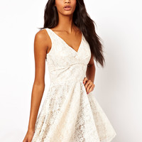 Elise Ryan V Neck Lace Skater Dress at asos.com