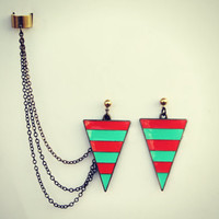 triangle ear cuff earrings, chains ear cuff, mint earrings, orange earrings, triangle earrings
