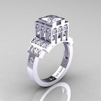 Modern Industrial 14K White Gold 1.23 CT Princess White Sapphire Diamond Bridal Ring R316-14KWGDWS