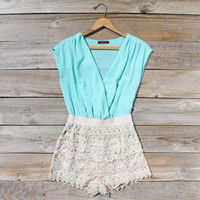 Sea Mist Romper in Mint, Sweet Women&#x27;s Bohemian Clothing