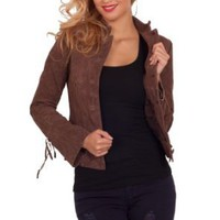 Amazon.com: Womens Suede Rancher Jacket Button Up Sturdy Warm Leather Work Coat S M L: Clothing
