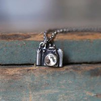 ready for your close-up pewter camera necklace
