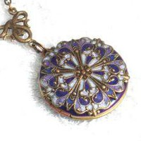 Purple Resin Locket Filigree Flower by SomethingExceptional