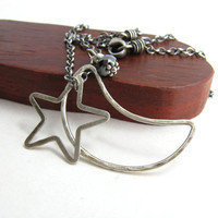 Crescent Moon Star Pendant Sterling Silver Necklace Handmade Metalwork Jewelry
