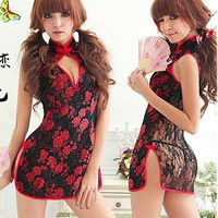 [18.46] Night Time Sexy Lace Cheongsam Qipao - Dressilyme.com