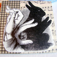 Coaster - Single - Hand Shadow Puppet No 1 - Bunny Rabbit - Large Paper Chipboard Decoupage Collage Drink Bar Tea Beverage Coffee