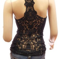 Patty Women Sexy Crochet Eyelet Lace Back Cami Vest Tank Top