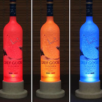 Grey Goose Vodka LED Bottle Lamp Light Color Change Remote Control Bar Man Cave