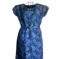 1950s Wiggle Dress Blue Floral Print Short Sleeve with Bow Rhinestone Detail with Matching Belt and Jacket