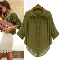 SakuraShop  Loose Chiffon Blouse for Summer