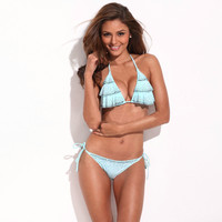 Light Blue Ruffle Front Triangle Top Silky-Soft Bikini Set