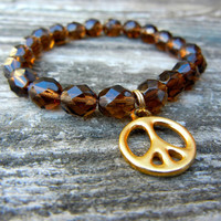 Beaded Stretch Charm Bracelet with Brown Topaz Czech Glass Beads and Gold Peace Sign Charm