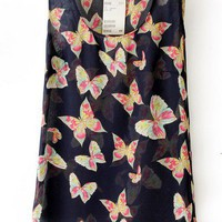 Navy Sleeveless Butterfly Print Chiffon Vest - Sheinside.com