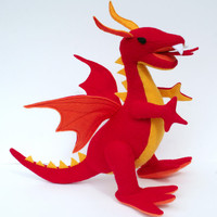 Fantastical Stuffed Fire Dragon,  Red, Yellow & Orange Plush, 100% Handcrafted from Eco Fi Felt, Magical, Mythical Stuffed Animal Toy