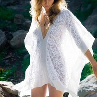 Nightcap Clothing Jungle Lace Kaftan in White
