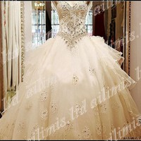 white/Ivory Organza Empire Sweetheart Neckline Wedding Dress Free gloves veil