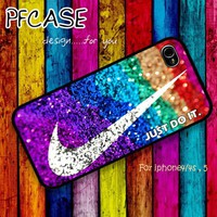 Nike just do it on glitter : Case For Iphone 4/4s ,5 /Samsung S2,3,4