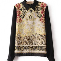 Baroque Chiffon Blouse with Long Sleeves