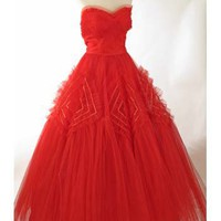 Vintage Dresses-50s Strapless Red Tulle Evening Dress Ball Gown