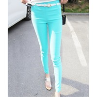 Candy Color Elastic Slim High Waist Leggings