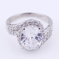 925 Silver Zircon Clear Rhinestone Band Ring at Online Jewelry Store Gofavor