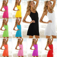 Solid Color One-piece Beach Dress at Online Apparel Store Gofavor