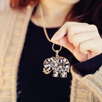 Sparkling Crystal Elephants Necklace