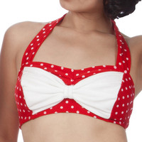 Cyndy PolkaDotted Bikini Top in Red/White XL & by FablesbyBarrie
