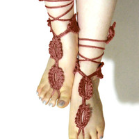 Crochet barefoot sandals Brown sandals foot by EmofoFashion
