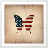 butterfly Stars and Stripes Art Print by Steffi Louis-findsFUNDSTUECKE