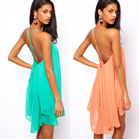 Back thin strap metal buckle cross hollow sleeveless solid color chiffon dress