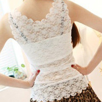 Full lace hollow sexy lace edge waves vest