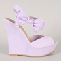 So-CooL Bow Peep Toe Platform Wedge