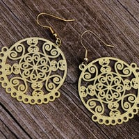 Delicate Gold Filigree Dangle Earrings by TatumBradleyCo on Etsy