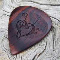 Laser Engraved Treble and Bass Clef Heart - Handmade Mexican Cocobolo Premium Guitar Pick