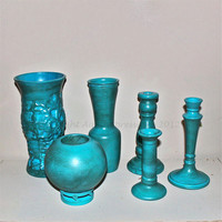 Turquoise Candle Sticks Vases Upcycled vintage by AquaXpressions