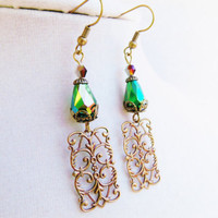 Green Crystal & Bronze Filigree Pendant Vintage Style Earrings