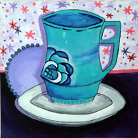 6x6 Teacup with a rose on a saucer painting