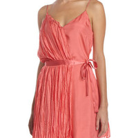 Pleated Wrap Dress, Coral