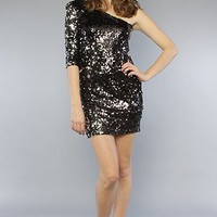 Blaque Label The One Shoulder Sequin Mini Dress in Black and Silver,Dresses for Women