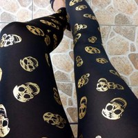 [5626-Silver] Black Color with Golden Skull Pattern Leggings