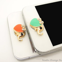 1PC Bling Crystal  Cute Elephant Apple iPhone Home Button Sticker for iPhone 4,4s,4g, iPhone 5, iPad, Smart Phone Charm
