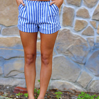 Plain As Day High Waisted Shorts: Blue | Hope&#x27;s