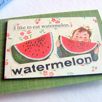 Paper Collage Magnet  Watermelon  I Like To Eat by mimiandlucy