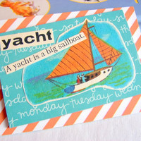 Paper Collage Magnet - Yacht - A Yacht Is A Big Sailboat - Large Chipboard Decoupage