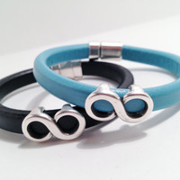Infinity Couples Bracelets Thick Leather Turquoise Black