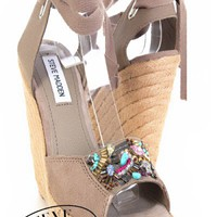 Taupe Suede Embellished Espadrille Platform Wedge Sandal