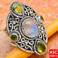 RAINBOW MOONSTONE, PERIDOT 925 STERLING SILVER SIGNATURE RING SIZE 7 JEWELRY