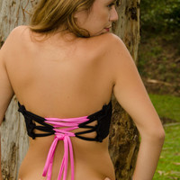Scrunch Front bandeau top with coret back- black and pink