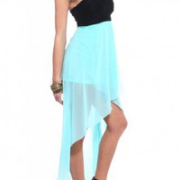 Pleated Bust Tail Back Dress in Aqua